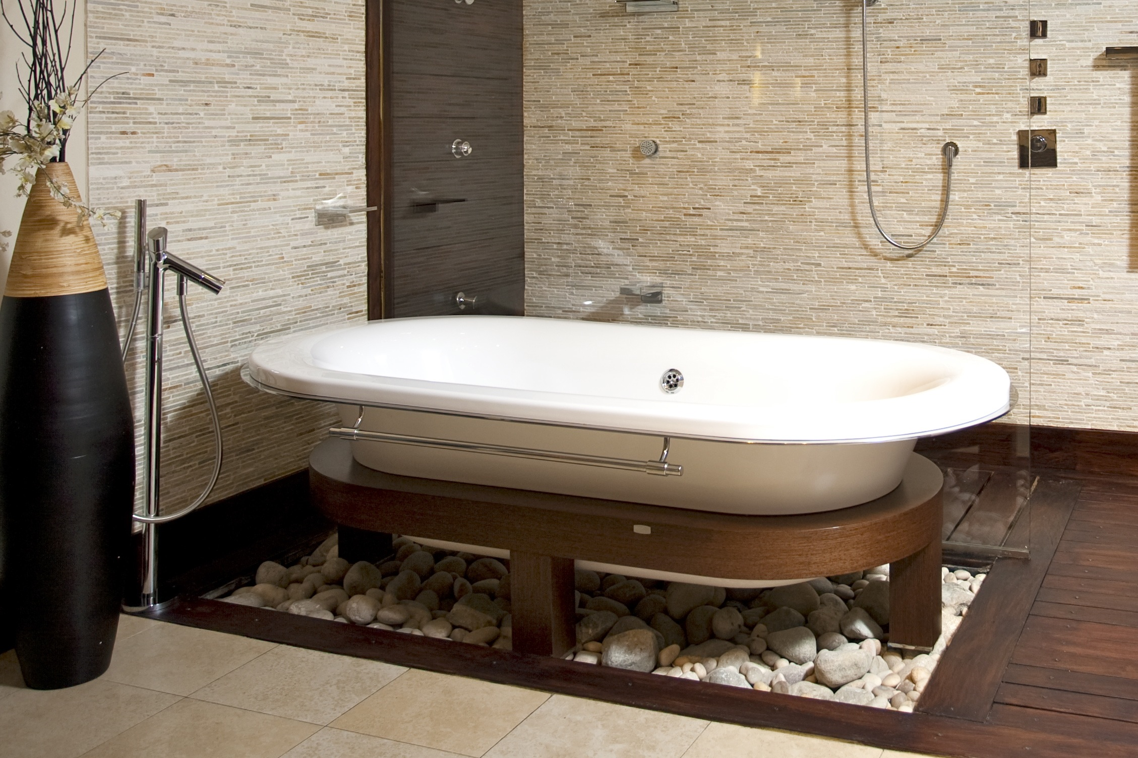 bathroom-stone-also-wooden-table-and-lovable-white-bathtub-and-glazing-design-ideas-unique-glazing-bathroom-fancy-toilet-bathroom-with-interesting-brown-bathroom-tiles-beauteous-unique-bathroom-tile